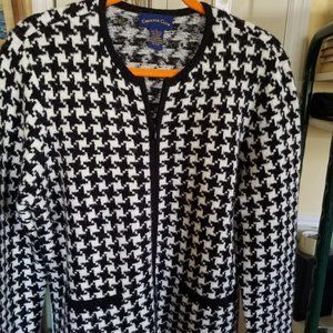 Long Sleeve Houndstooth Cotton Sweater